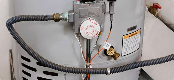 hot water heater dial and gas line